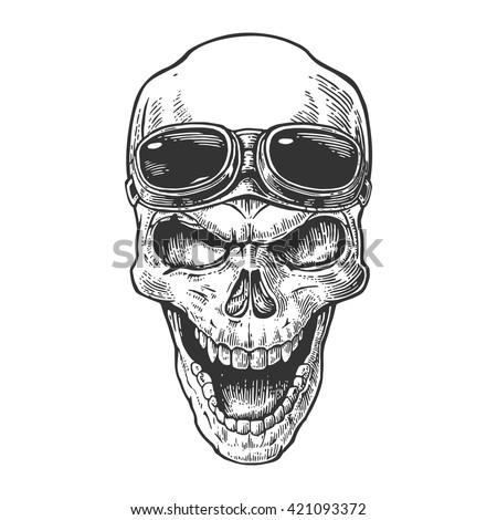 Skull smiling with glasses on forehead. Black vintage vector illustration. For poster and tattoo biker club. Hand drawn design element isolated on white background - stock vector