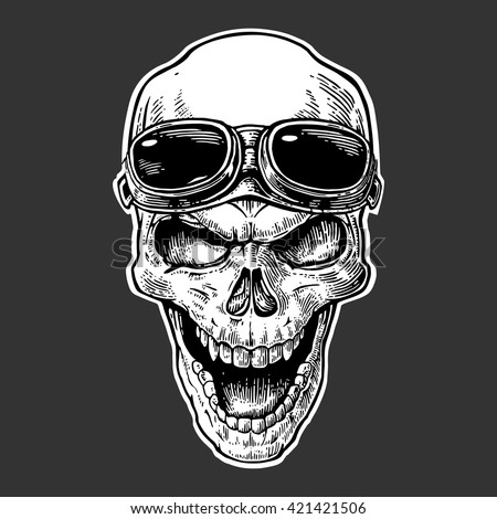 Skull smiling with glasses on forehead. Black vintage vector illustration. For poster and tattoo biker club. Hand drawn design element isolated on dark background - stock vector