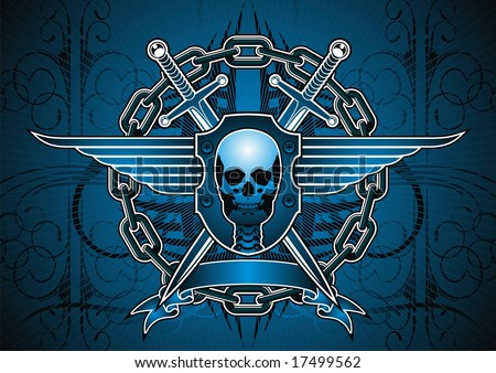 Skull, sword and chain motif in blue.