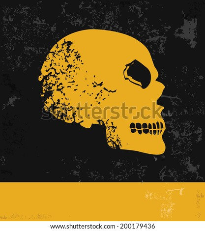 Skull symbol,grunge vector - stock vector
