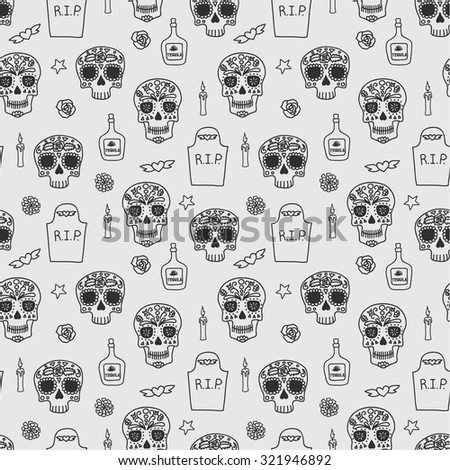 Skull, tombstone, tequila, flowers and candles seamless pattern for day of the dead (dia de los muertos). Vector eps10. - stock vector