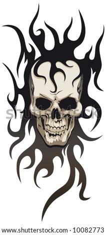 Skull tribal tattoo - stock vector