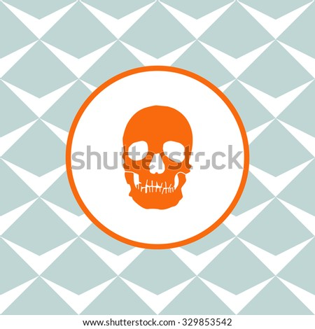 Skull vector icon. Seamless background with geometric design. - stock vector