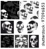 Skull vector repeat patterns.  Great for Halloween projects or on textiles such as t-shirts or cushions. - stock photo
