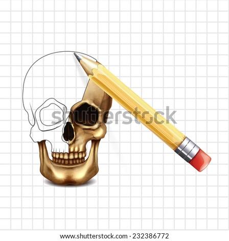 Skull vector sketch - stock vector