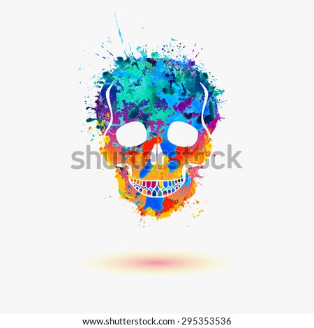 Skull. Vector watercolor splash illustration