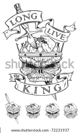 Skull wearing a crown stabbed with Dagger - stock vector