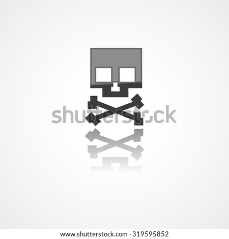 Skull web icon on white background - stock vector