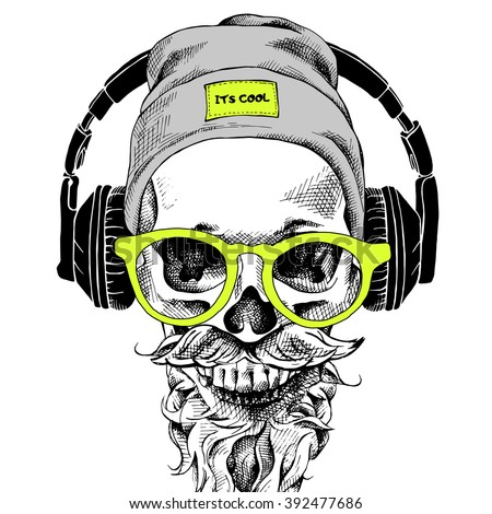 Skull with beard, mustache in the hipster hat and headphones, glasses. Vector illustration. - stock vector