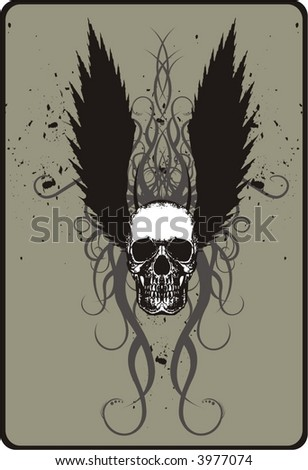 Skull with black wings - stock vector