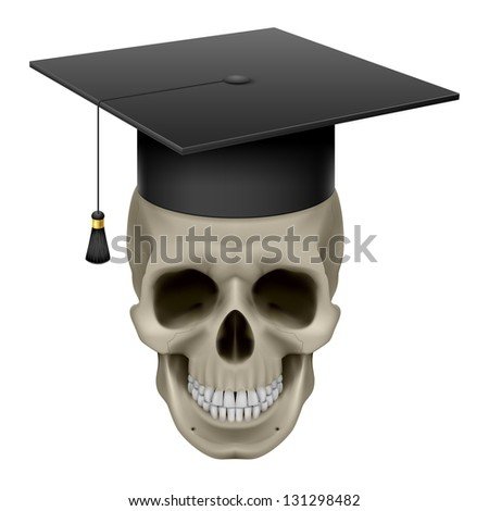 Skull with Cap Graduate. Illustration on white background