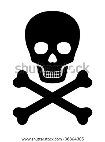 Skull with crossed bones - stock vector
