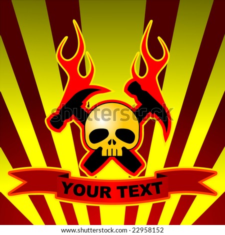 skull with crossed hammers and flames on dark background with yellow stripes and editable text - stock vector