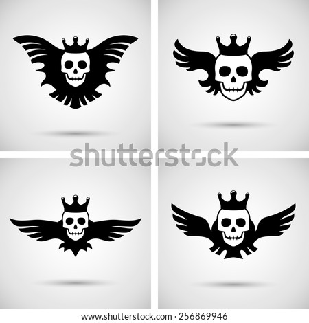 Skull with crown and wings. Vector illustration - stock vector