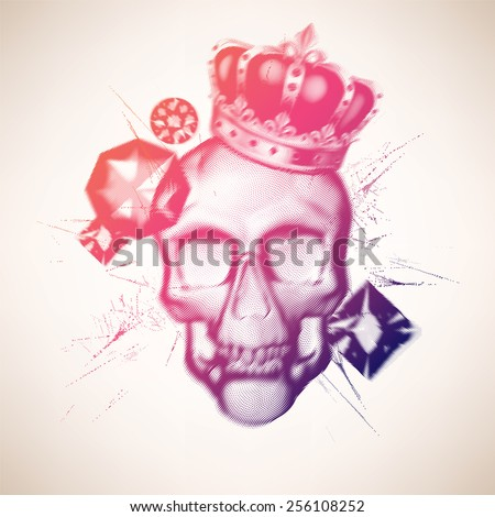 Skull with diamonds - stock vector