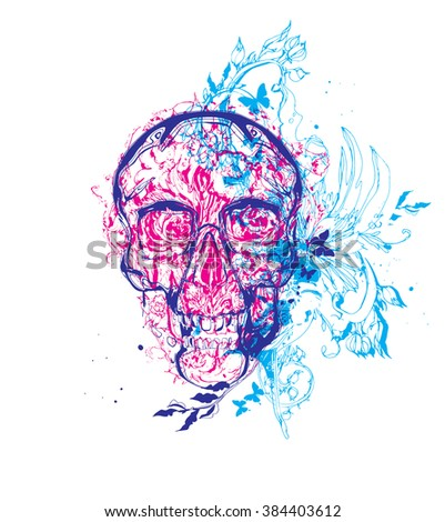 Skull with flowers - stock vector