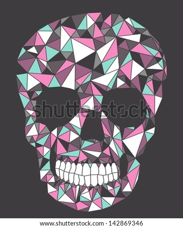 Skull with geometric pattern. - stock vector