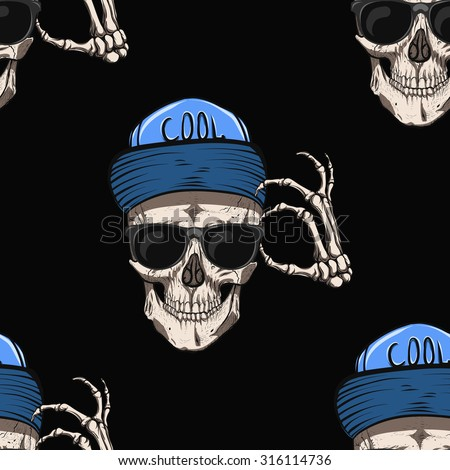 Skull with glasses and blue cap.Black background.Seamless pattern background. - stock vector