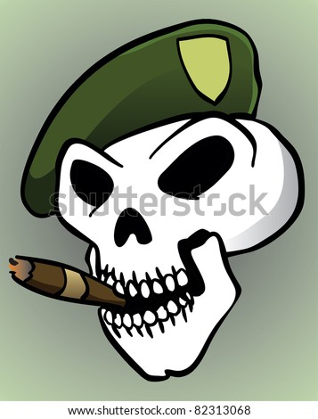 Green Beret Skull Skull with Green Beret and