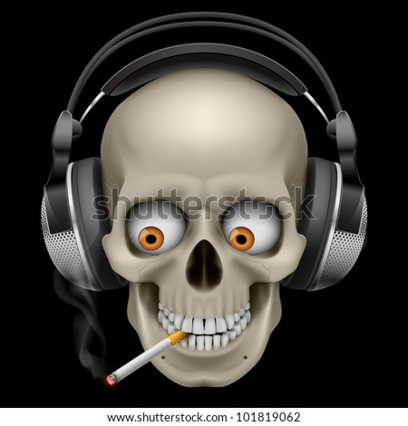 Skull with headphones with a cigarette. Illustration on black background