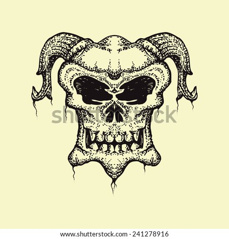 skull with horn hand draw isolated on bright color - stock vector