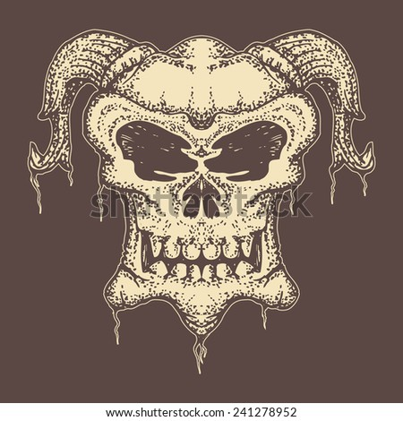 skull with horn hand draw isolated on dark color - stock vector
