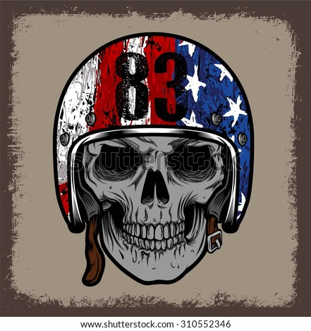 SKULL WITH RETRO HELMET AND AMERICAN FLAG. OR GRUNGE ISOLATED - stock vector