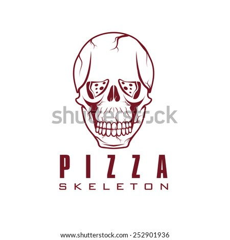 skull with slice of pizza - stock vector