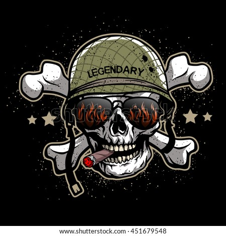 Skull Sunglasses Military Helmet Illustration On Stock ...