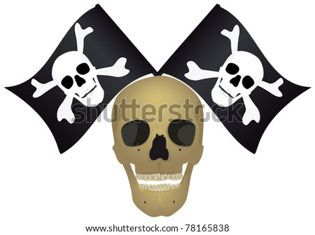 Skull with the crossed flags, file EPS.8 illustration. - stock vector