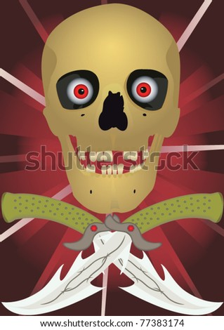 Skull with the crossed knifes, file EPS.8 illustration. - stock vector