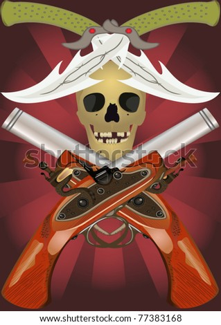 Skull with the crossed pistols and knifes, file EPS.8 illustration. - stock vector