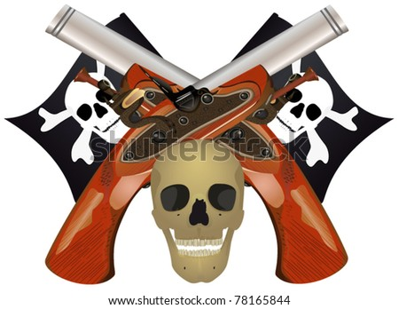 Skull with the crossed pistols, file EPS.8 illustration. - stock vector