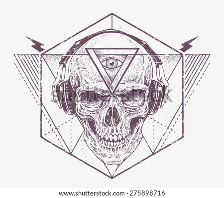 Skull with third eye in headphones. Dotwork styled illustration with geometric abstract elements. Grunge print template. Vector art.  - stock vector