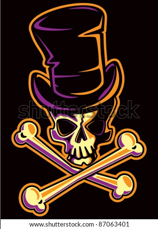 Skull with Top Hat - stock vector