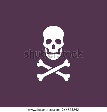 Skull with two bones - stock vector