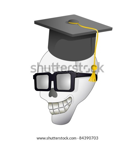 Skull with university cap - stock vector