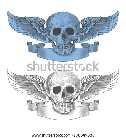 Skull with wings and ribbon in vintage engraving style - stock vector