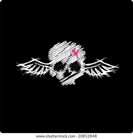 Skull with Wings - Emo style - stock vector