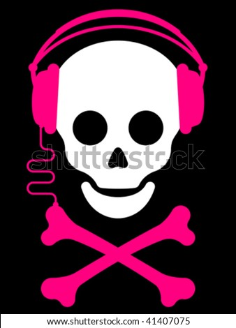 Skull with with headphones and crossbones music player - vector - stock vector