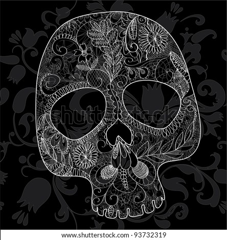 skull, woven out of white lace on black background - stock vector