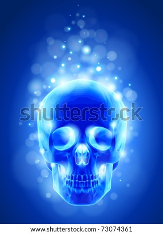Skull x-ray, blue background & lights - technology vector - stock vector