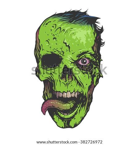 Skull zombie illustration - stock vector