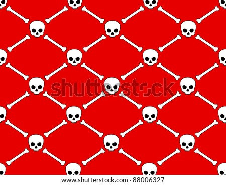 Skulls and Bones on Red Background - stock vector