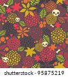 Skulls and flowers seamless pattern. Beautiful vector texture. - stock photo