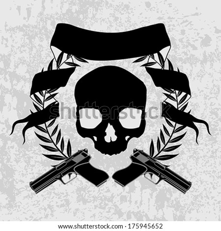 Skulls and guns - stock vector