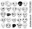 Skulls doodles vector set - stock vector