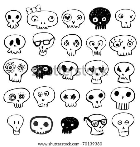 Skulls doodles vector set - stock vector