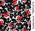 skulls on black background - seamless pattern - stock vector