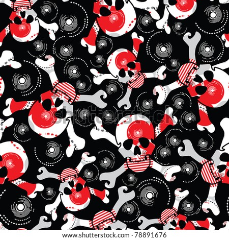 skulls on black background - seamless pattern - stock vector